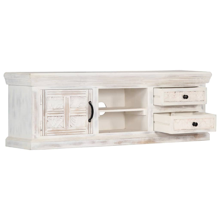 "AbillionZ Collection TV Cabinet White 47.2""x11.8""x15.7"" Solid Mango Wood - AbillionZ"