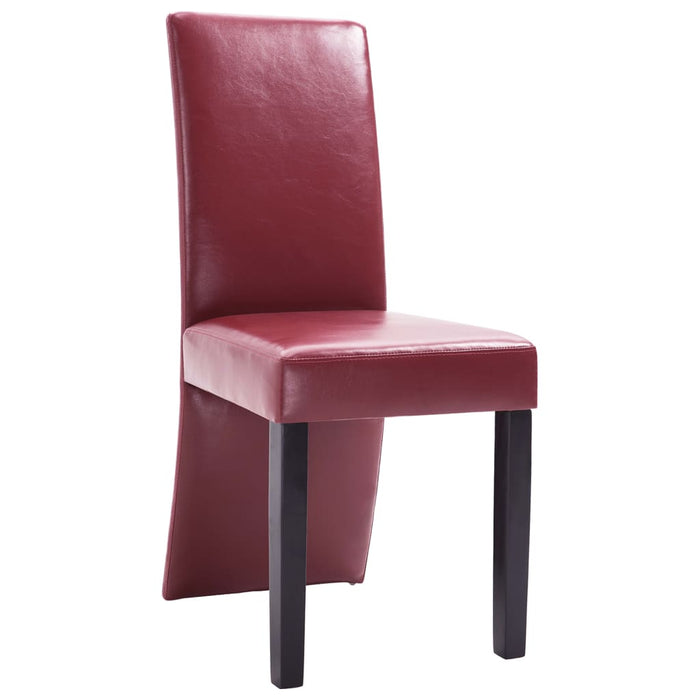 AbillionZ Collection Dining Chairs 4 pcs Wine Red Faux Leather - AbillionZ