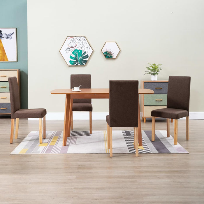 AbillionZ Collection Dining Chairs 4 pcs Brown Fabric - AbillionZ
