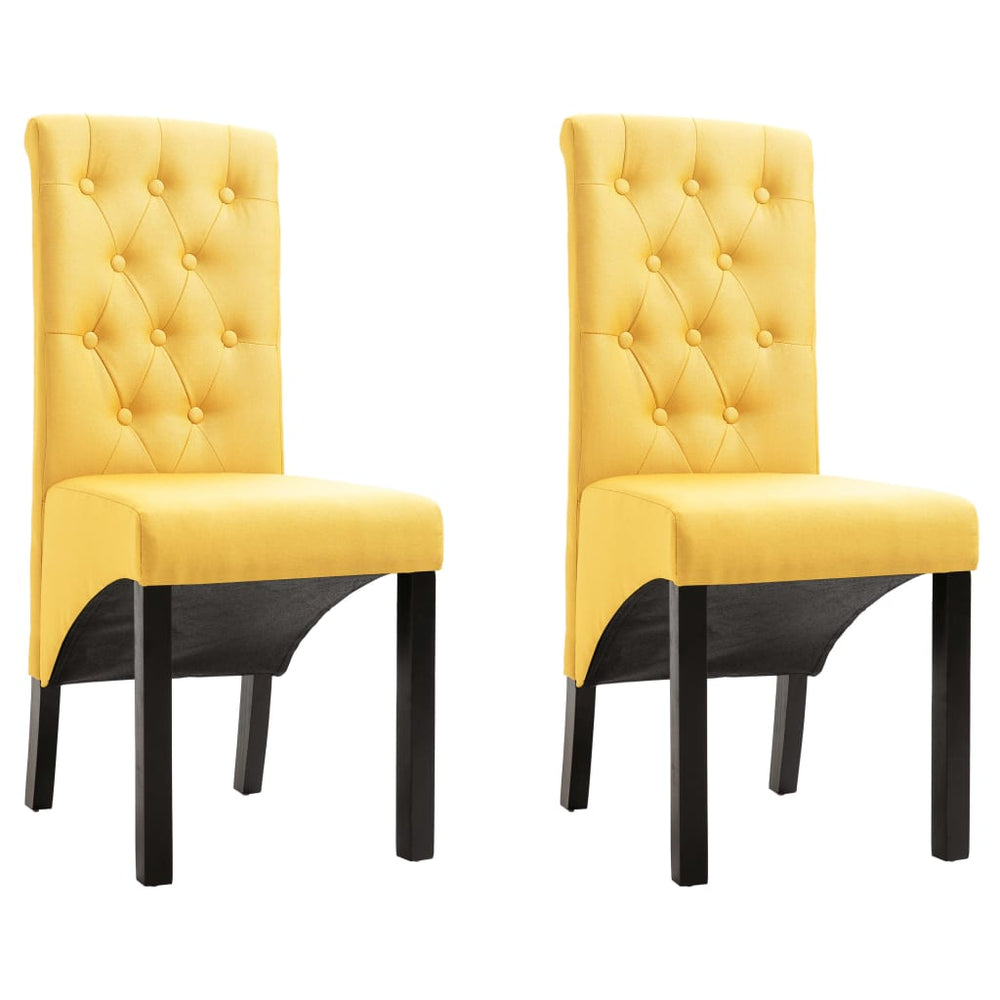 AbillionZ Collection Dining Chairs 2 pcs Yellow Fabric - AbillionZ