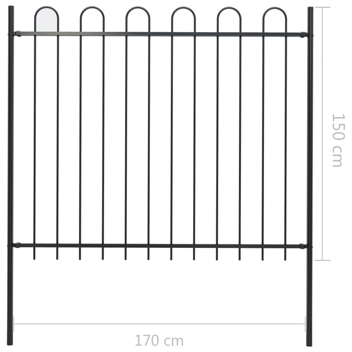 AbillionZ Collection Garden Fence with Spear Top Steel 5.5ft Black - AbillionZ