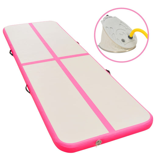"AbillionZ Collection Inflatable Gymnastics Mat with Pump 236.2""x39.4""x3.9"" PVC Pink - AbillionZ"