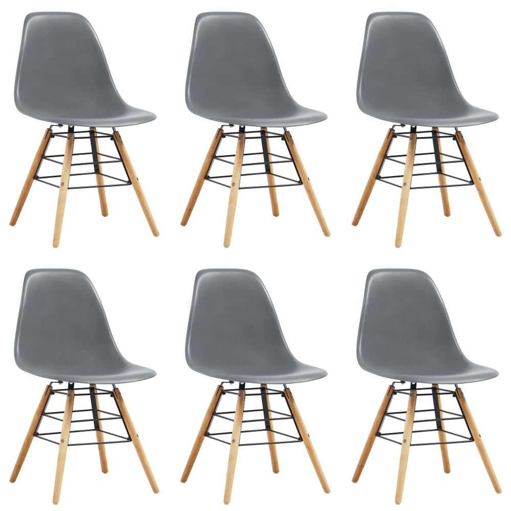 AbillionZ Collection Dining Chairs 6 pcs Gray Plastic - AbillionZ