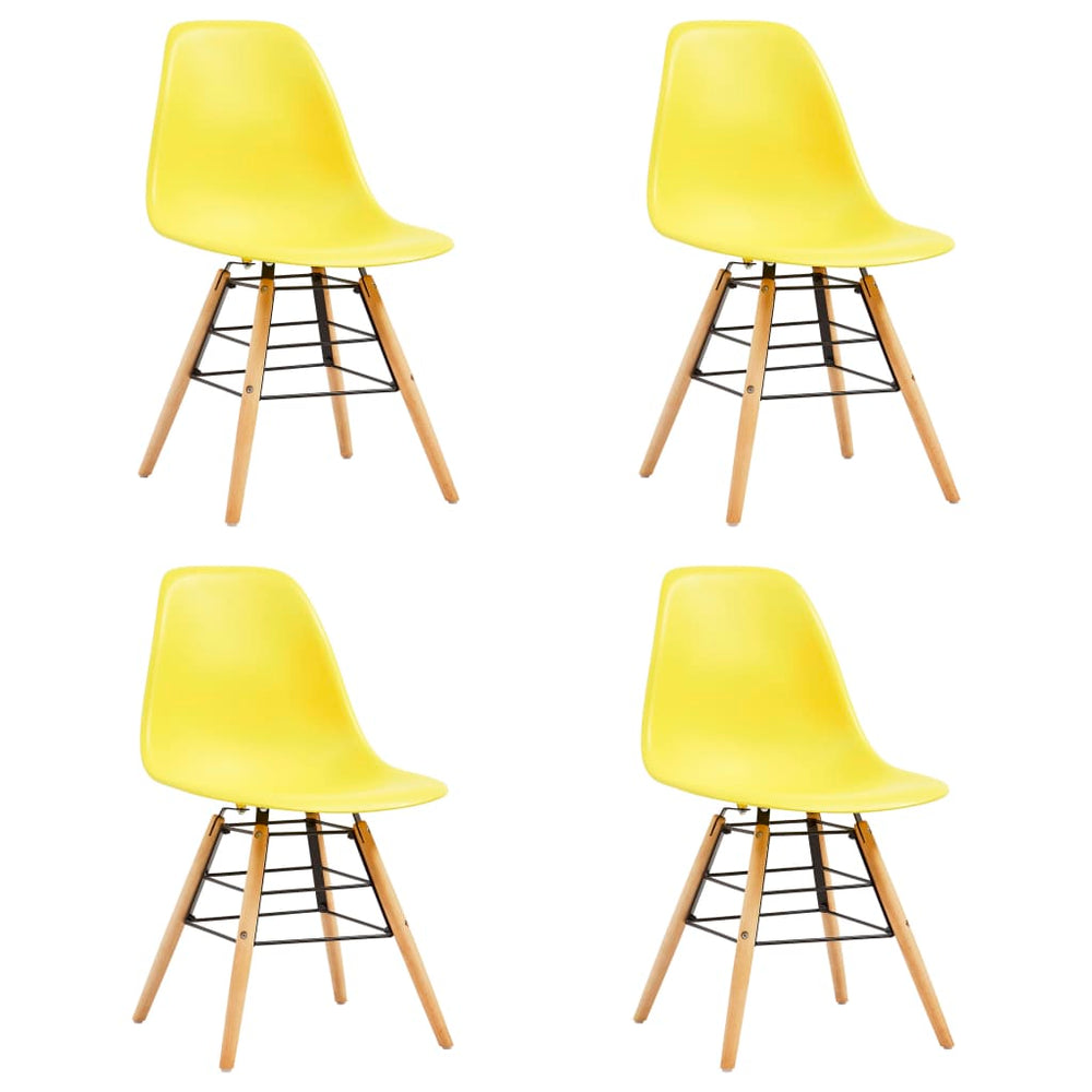 AbillionZ Collection Dining Chairs 4 pcs Yellow Plastic - AbillionZ