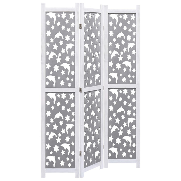 "AbillionZ Collection 3-Panel Room Divider Gray 41.3""x64.7"" Solid Wood - AbillionZ"