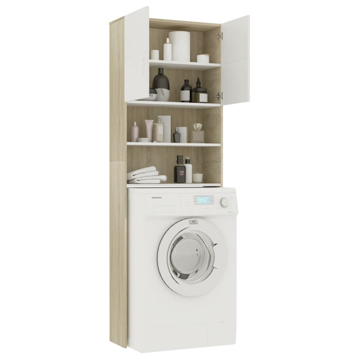 "AbillionZ Collection Washing Machine Cabinet White and Sonoma Oak 25.2""x10""x74.8"" - AbillionZ"