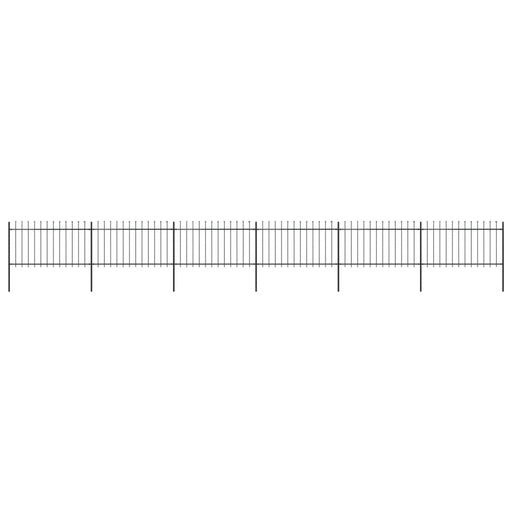 "AbillionZ Collection Garden Fence with Spear Top Steel 401.6""x39.4"" Black - AbillionZ"