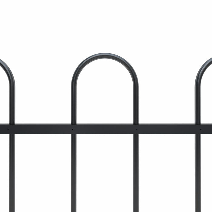 AbillionZ Collection Garden Fence with Hoop Top Steel 27.9ft Black - AbillionZ