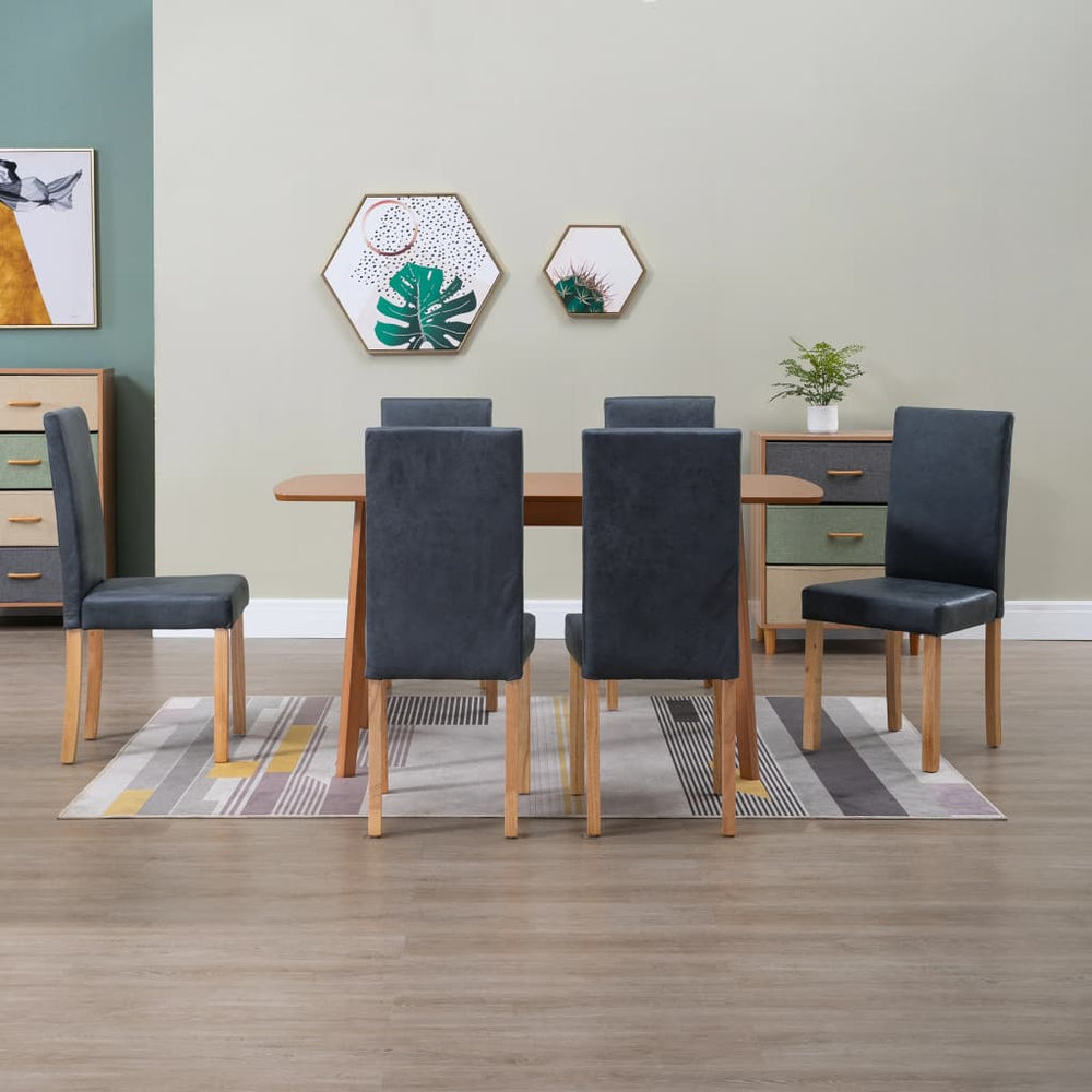 AbillionZ Collection Dining Chairs 6 pcs Gray Faux Leather - AbillionZ