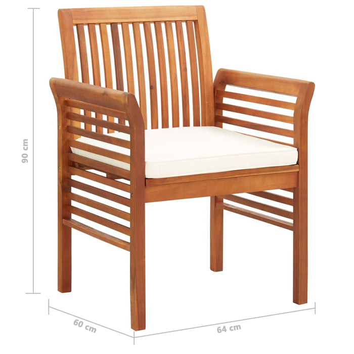AbillionZ Collection Garden Dining Chairs with Cushions 2 pcs Solid Acacia Wood - AbillionZ