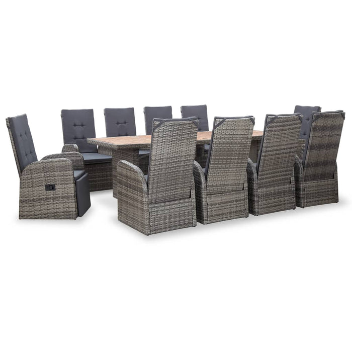 AbillionZ Collection 11 Piece Outdoor Dining Set Poly Rattan Acacia Wood Gray - AbillionZ