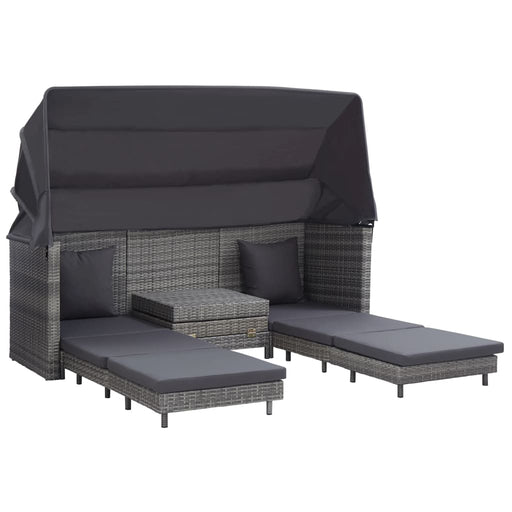 AbillionZ Collection Extendable 3-Seater Sofa Bed with Roof Poly Rattan Gray