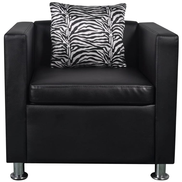 AbillionZ Collection Sofa Set Armchair and 3-Seater Black Faux Leather