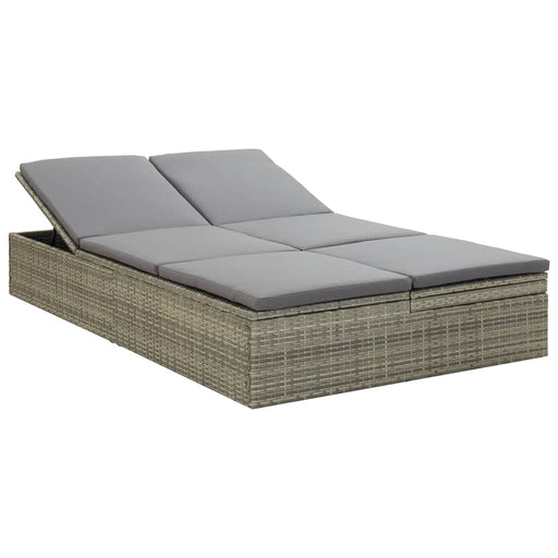AbillionZ Collection Convertible Sun Bed with Cushion Poly Rattan Gray - AbillionZ