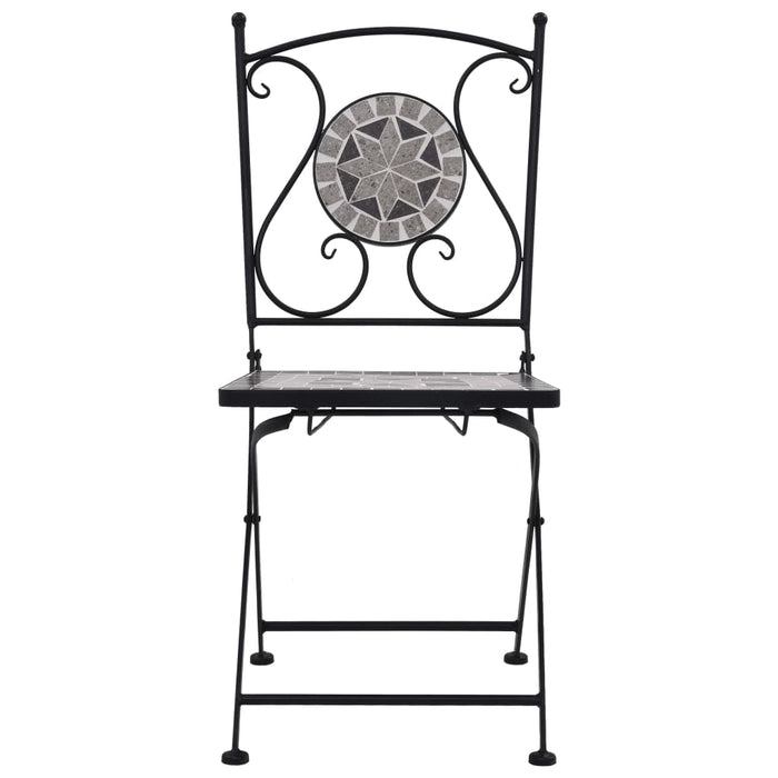 AbillionZ Collection Mosaic Bistro Chairs 2 pcs Gray - AbillionZ