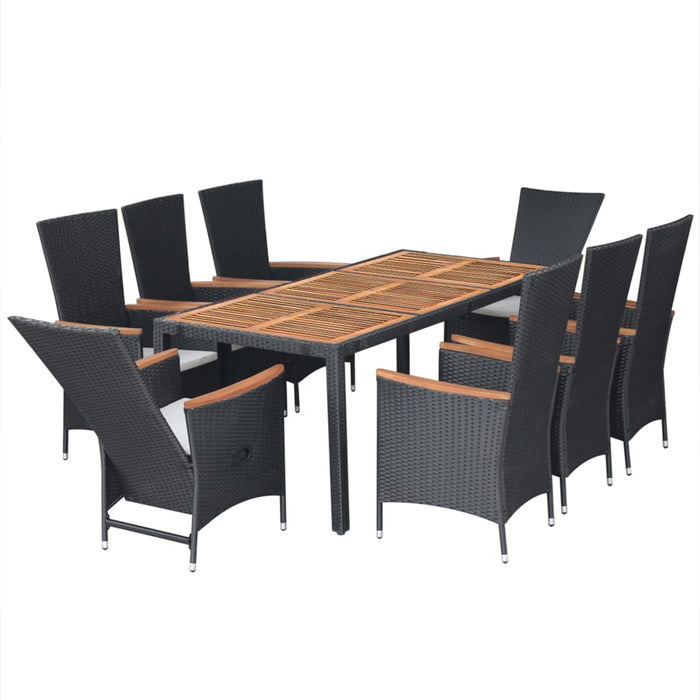 AbillionZ Collection 9 Piece Outdoor Dining Set Poly Rattan Acacia Wood Black - AbillionZ