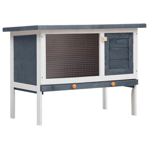 AbillionZ Collection Outdoor Rabbit Hutch 1 Layer Gray Wood - AbillionZ