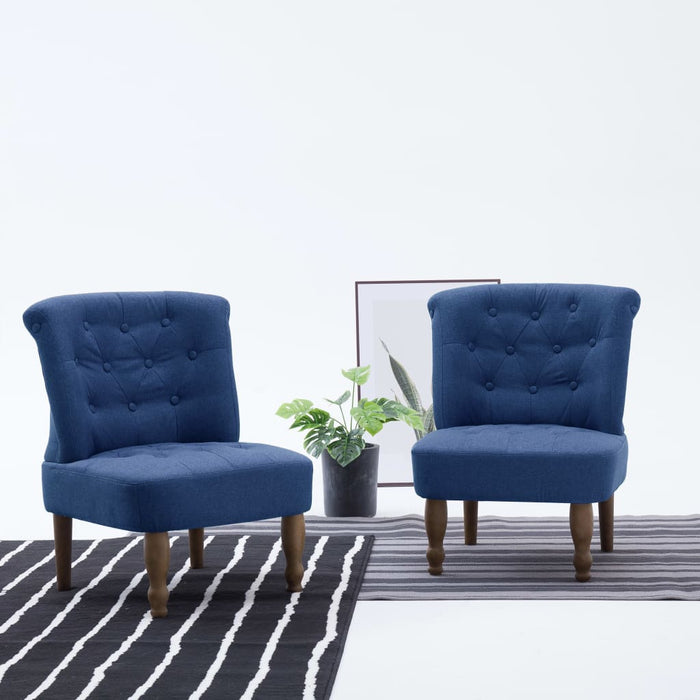 AbillionZ Collection French Chairs 2 pcs Blue Fabric - AbillionZ