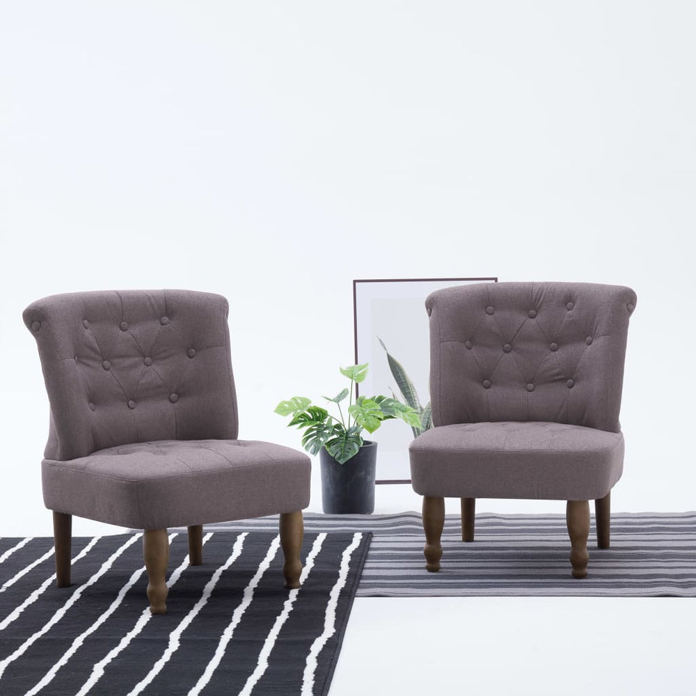 AbillionZ Collection French Chairs 2 pcs Taupe Fabric - AbillionZ