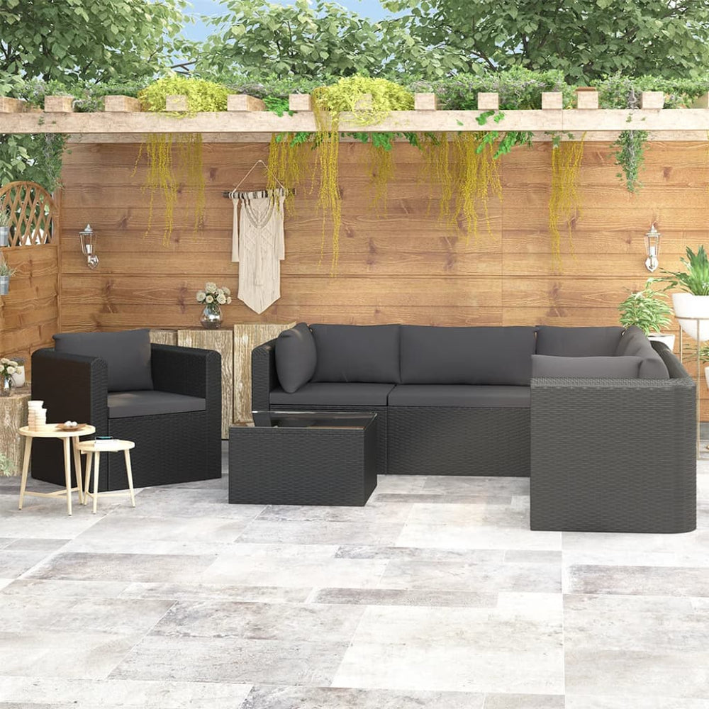 AbillionZ Collection 7 Piece Garden Lounge Set with Cushions Poly Rattan Black - AbillionZ