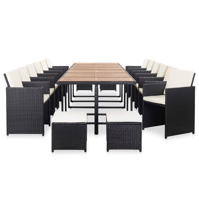 AbillionZ Collection 17 Piece Outdoor Dining Set with Cushions Poly Rattan Black - AbillionZ