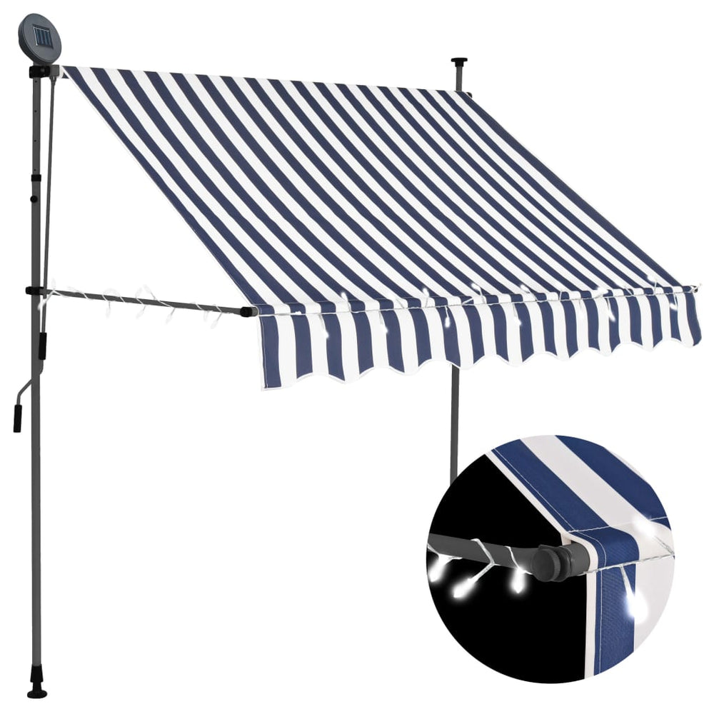 "AbillionZ Collection Manual Retractable Awning with LED 78.7"" Blue and White - AbillionZ"