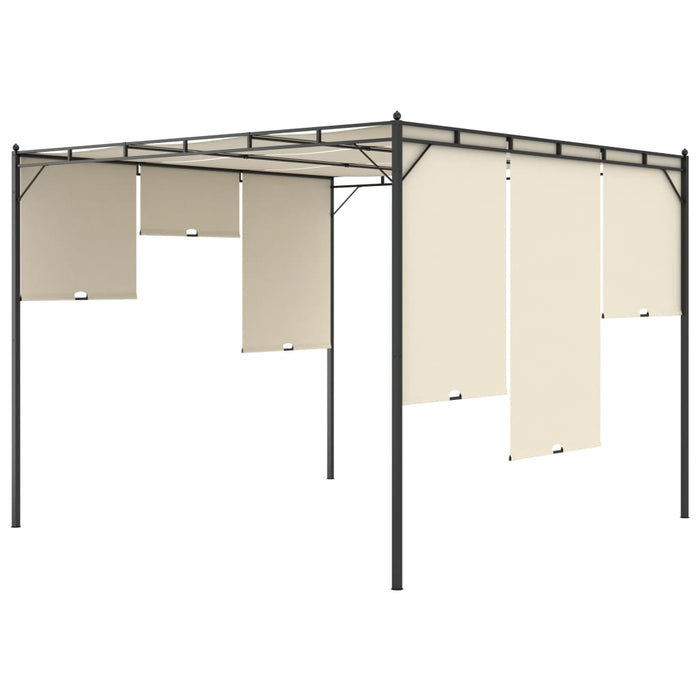 "AbillionZ Collection Garden Gazebo with Side Curtain 118.1""x118.1""x88.6"" Cream - AbillionZ"