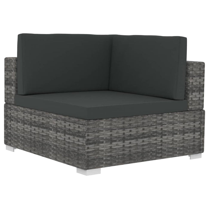AbillionZ Collection 3 Piece Garden Sofa Set with Cushions Poly Rattan Gray - AbillionZ