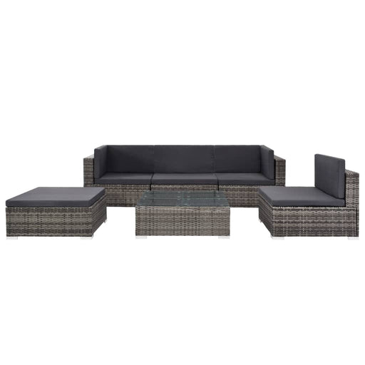 AbillionZ Collection 6 Piece Garden Lounge Set with Cushions Poly Rattan Gray