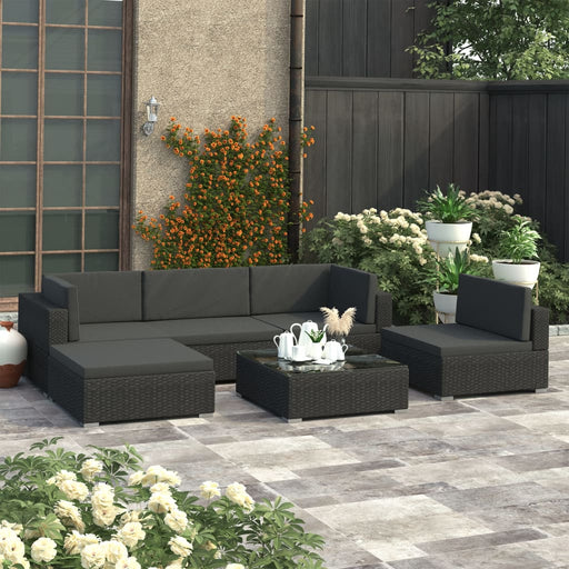 AbillionZ Collection 6 Piece Garden Lounge Set with Cushions Poly Rattan Black