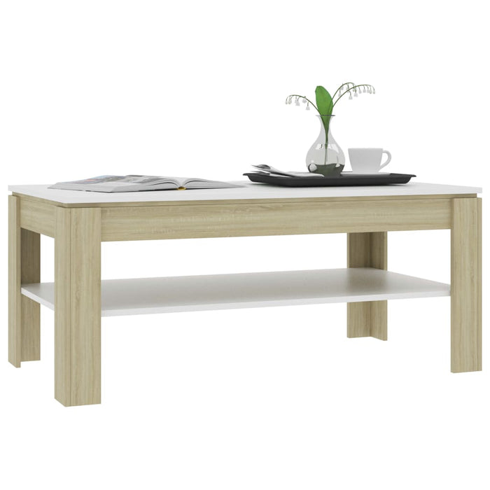 "AbillionZ Collection Coffee Table White and Sonoma Oak 43.3""x23.6""x18.5"" Chipboard - AbillionZ"