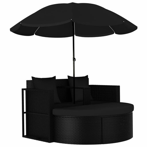 AbillionZ Collection Garden Bed with Parasol Poly Rattan Black