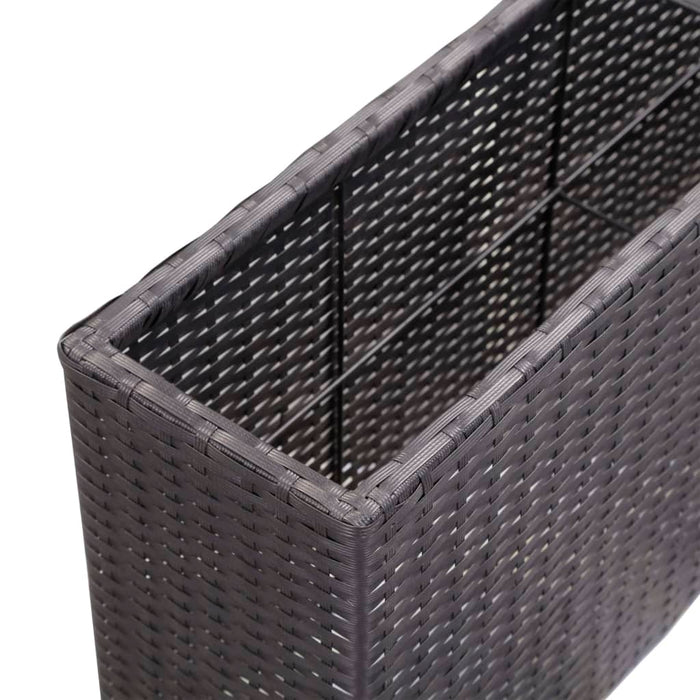 "AbillionZ Collection Garden Raised Bed with 2 Pots 35.4""x7.9""x15.7"" Poly Rattan Black - AbillionZ"