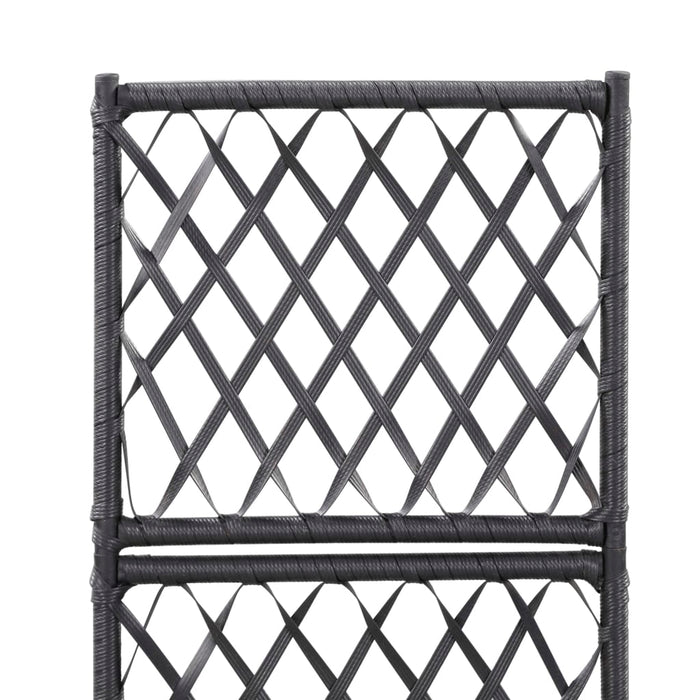 "AbillionZ Collection Trellis Raised Bed with 1 Pot 11.8""x11.8""x42.1"" Poly Rattan Black - AbillionZ"