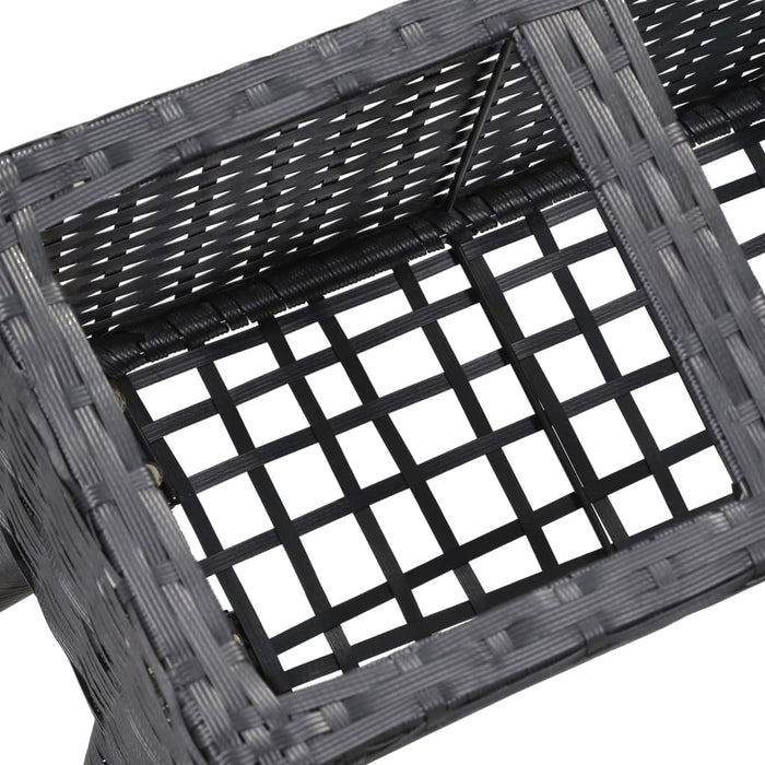 "AbillionZ Collection Garden Raised Bed with Legs and 5 Pots 46.4""x9.8""x19.7"" Poly Rattan Black"
