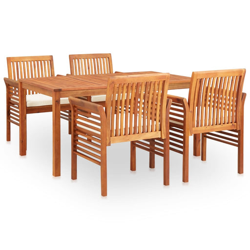 AbillionZ Collection 5 Piece Outdoor Dining Set with Cushions Solid Acacia Wood - AbillionZ