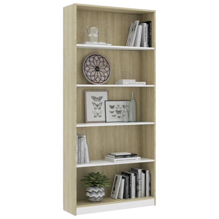 "AbillionZ Collection 5-Tier Book Cabinet White and Sonoma Oak 31.5""x9.4""x68.9"" Chipboard - AbillionZ"