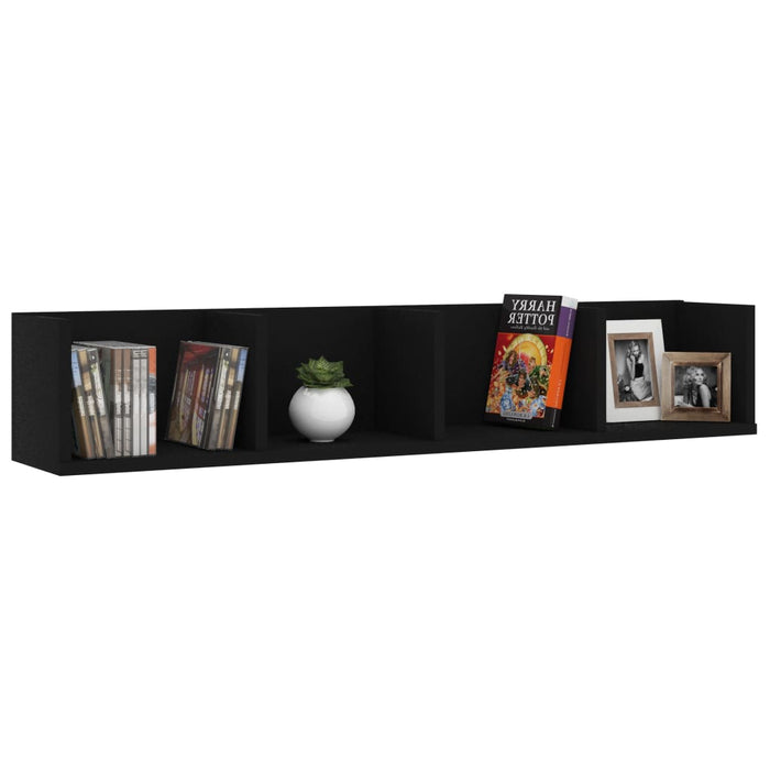 "AbillionZ Collection CD Wall Shelf Black 39.4""x7.1""x7.1"" Chipboard - AbillionZ"