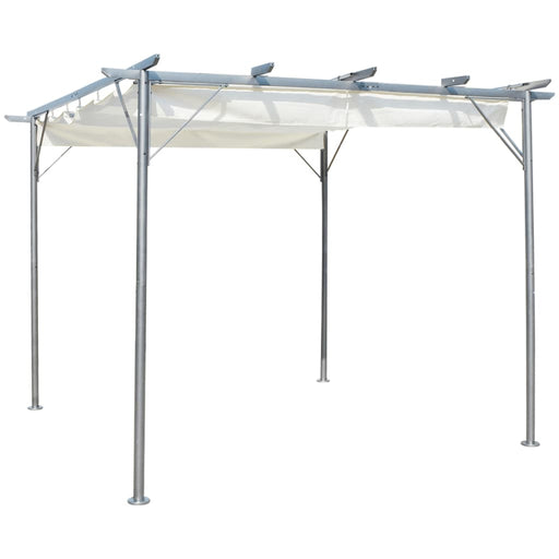 "AbillionZ Collection Pergola with Retractable Roof Cream White 118.1""x118.1"" Steel - AbillionZ"