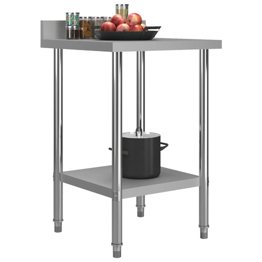 "AbillionZ Collection Kitchen Work Table with Backsplash 23.6""x23.6""x36.6"" Stainless Steel - AbillionZ"