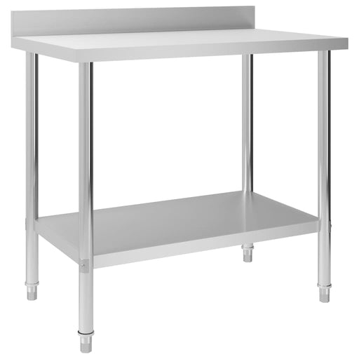 "AbillionZ Collection Kitchen Work Table with Backsplash 39.4""x23.6""x36.6"" Stainless Steel - AbillionZ"
