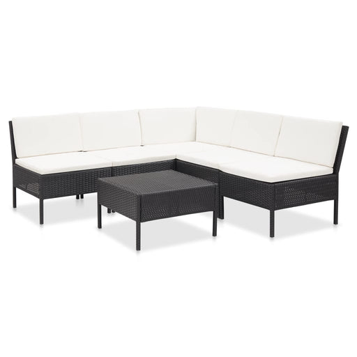 AbillionZ Collection 6 Piece Garden Lounge Set with Cushions Poly Rattan Black - AbillionZ