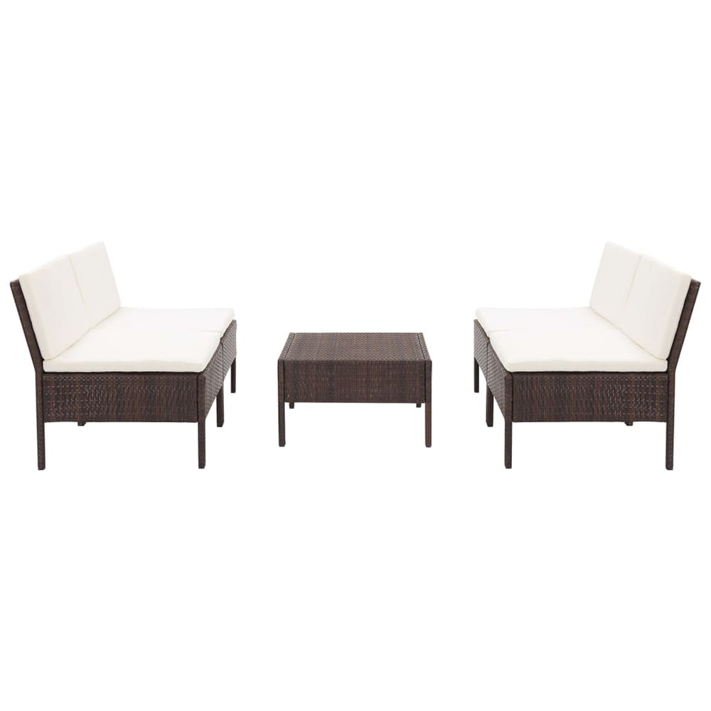AbillionZ Collection 5 Piece Garden Sofa Set with Cushions Poly Rattan Brown - AbillionZ