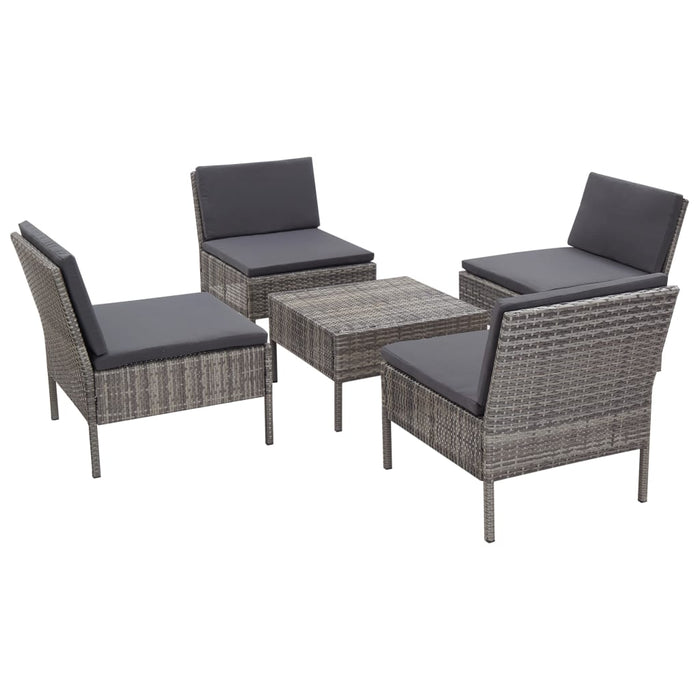 AbillionZ Collection 5 Piece Garden Sofa Set with Cushions Poly Rattan Gray - AbillionZ