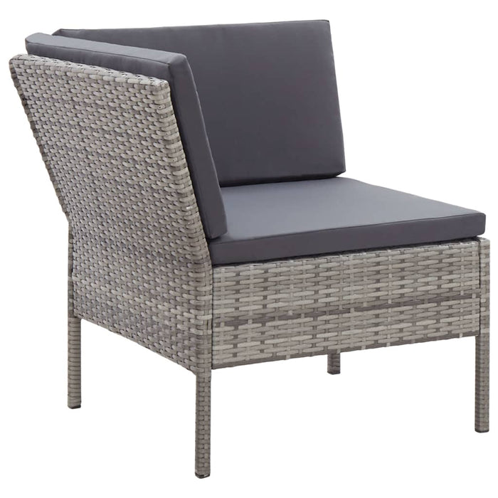 AbillionZ Collection 3 Piece Garden Lounge Set with Cushions Poly Rattan Gray - AbillionZ