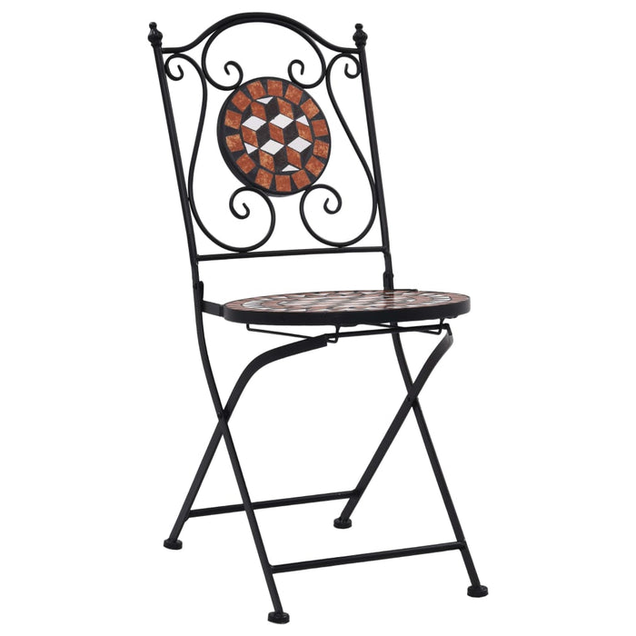 AbillionZ Collection 3 Piece Mosaic Bistro Set Ceramic Tile Terracotta - AbillionZ