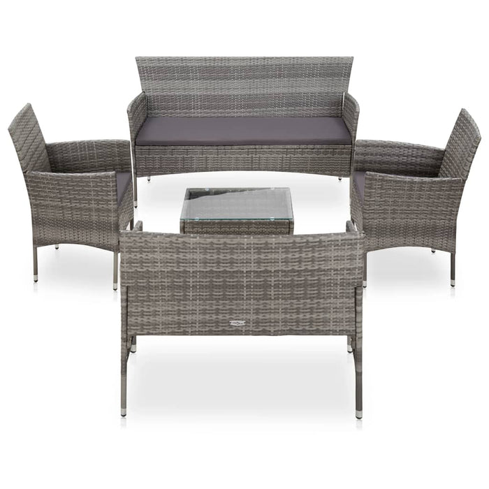 AbillionZ Collection 5 Piece Garden Lounge Set With Cushions Poly Rattan Gray - AbillionZ