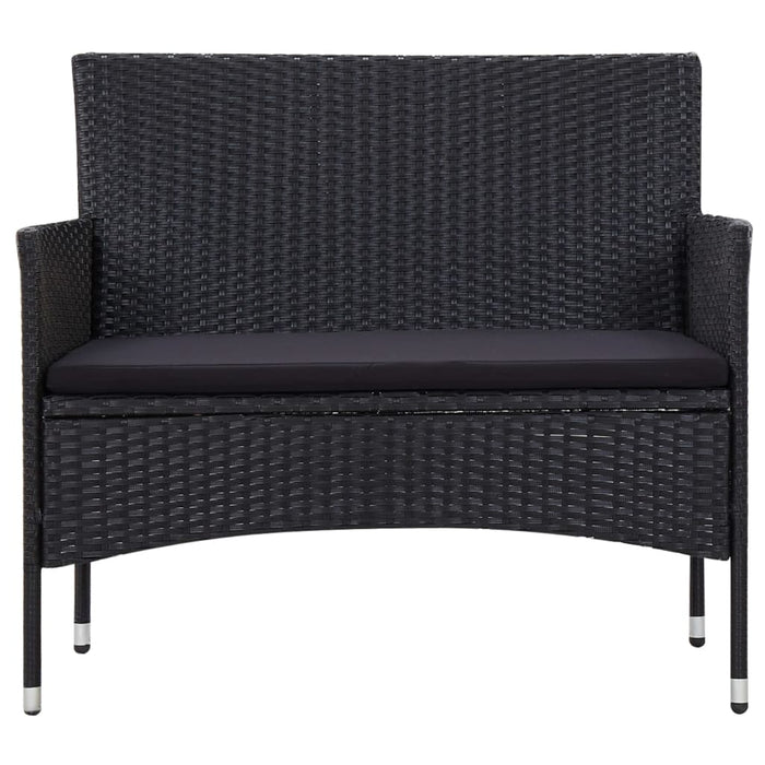 AbillionZ Collection 5 Piece Garden Lounge Set With Cushions Poly Rattan Black - AbillionZ