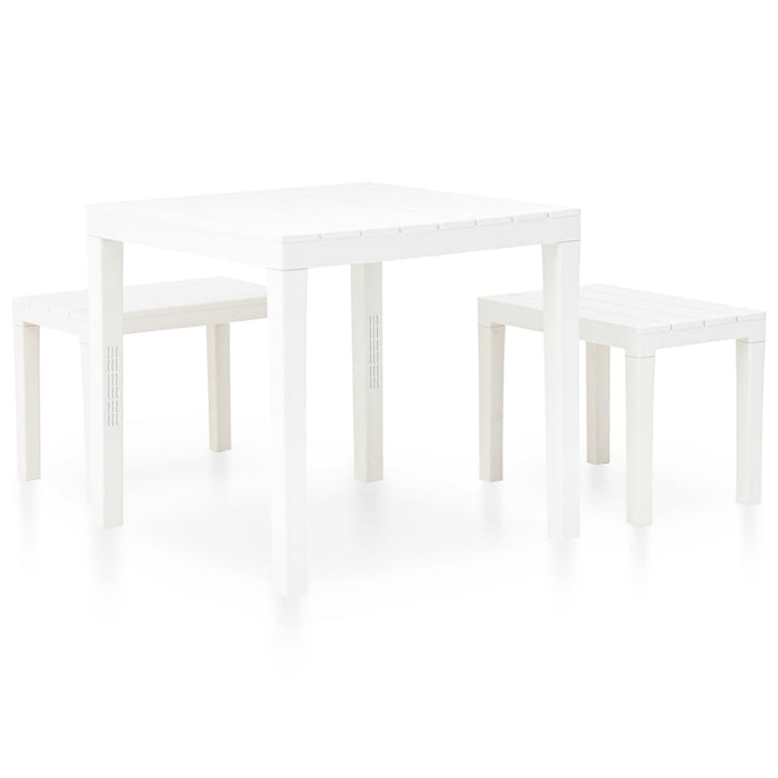 AbillionZ Collection Garden Table with 2 Benches Plastic White - AbillionZ
