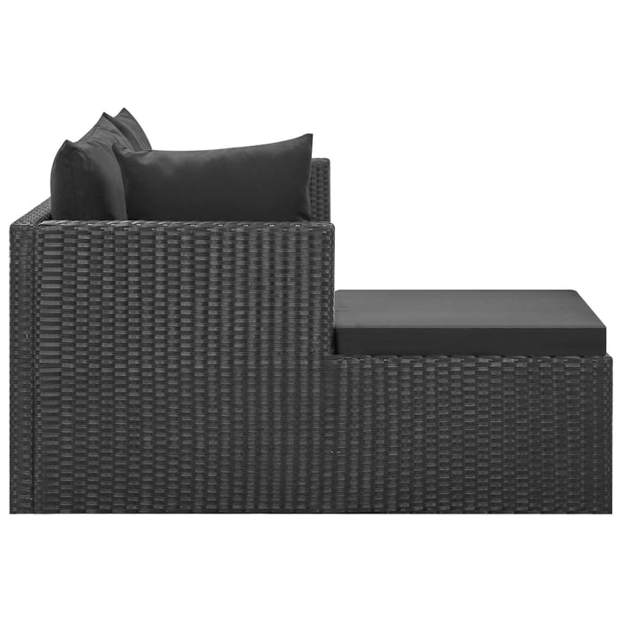 AbillionZ Collection 4 Piece Garden Lounge Set Black with Cushions Poly Rattan - AbillionZ